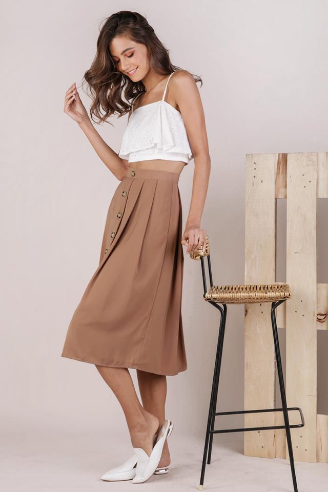 Alexa Button Midi Skirt (Camel)