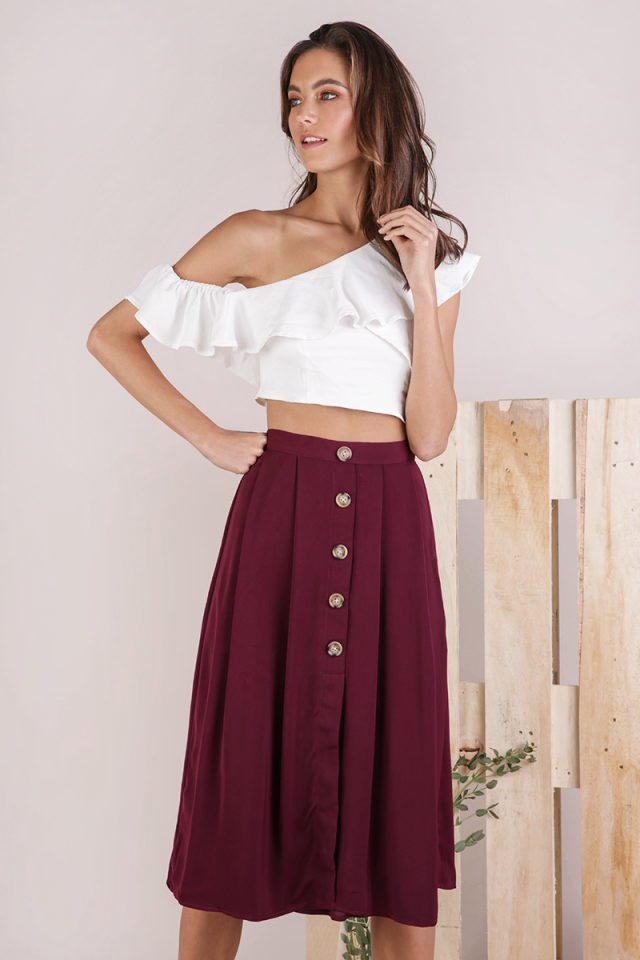 Alexa Button Midi Skirt (Maroon)