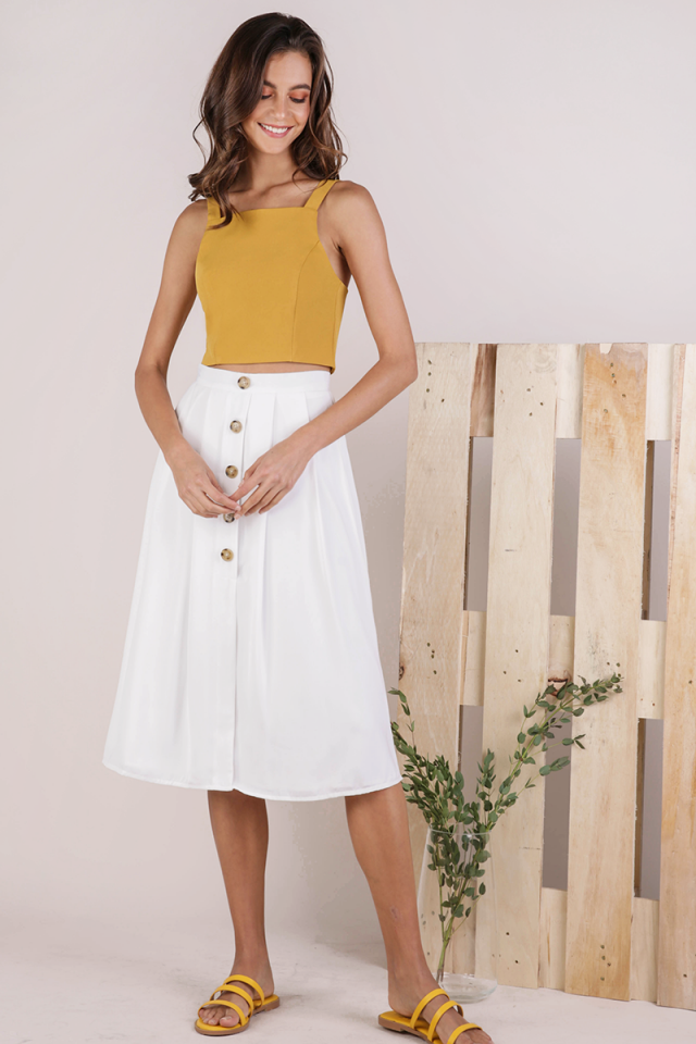 Alexa Button Midi Skirt (White)