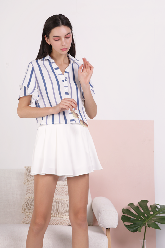 Ronda Button Top (Blue Stripes)