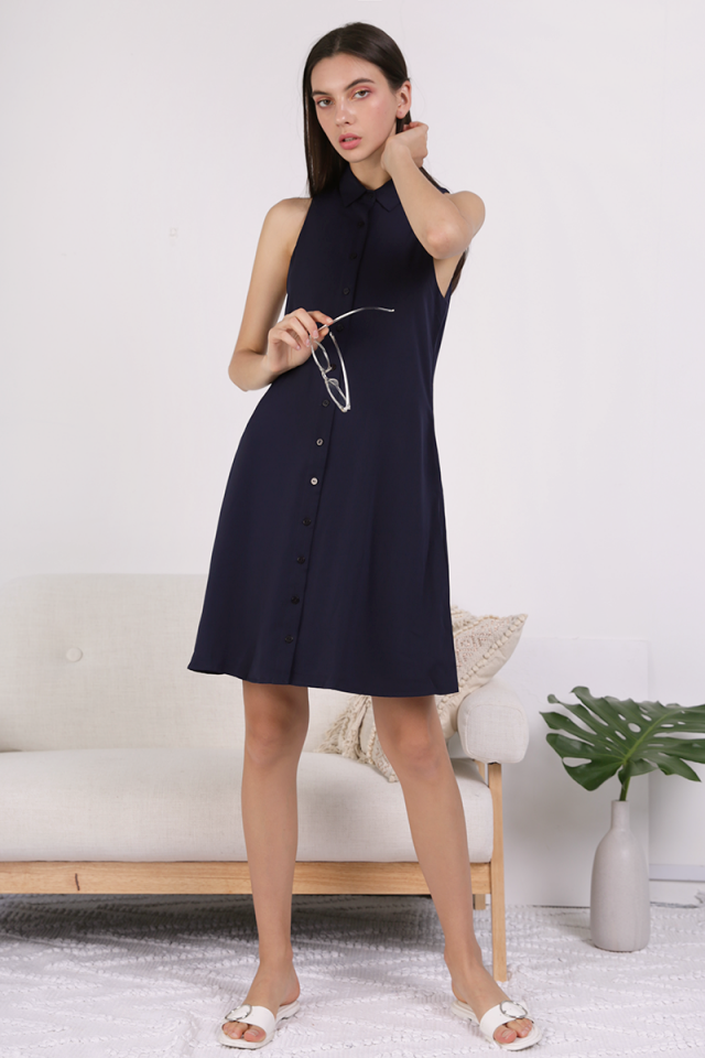 Ellen Shirt Dress (Navy)