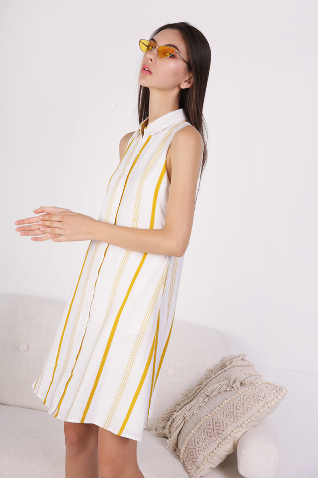 Ellen Shirt Dress (Yellow Stripes)