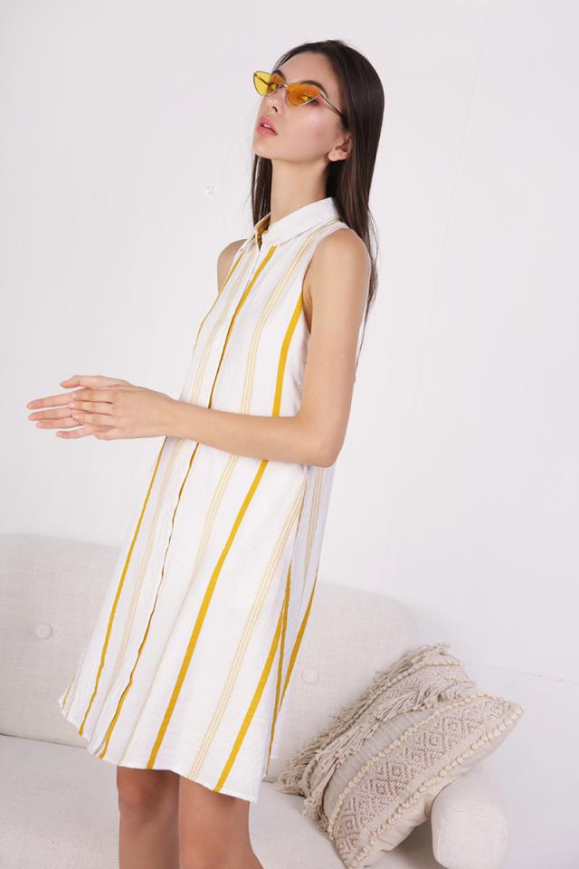 Ellen Shirt Dress (Yellow Stripes)