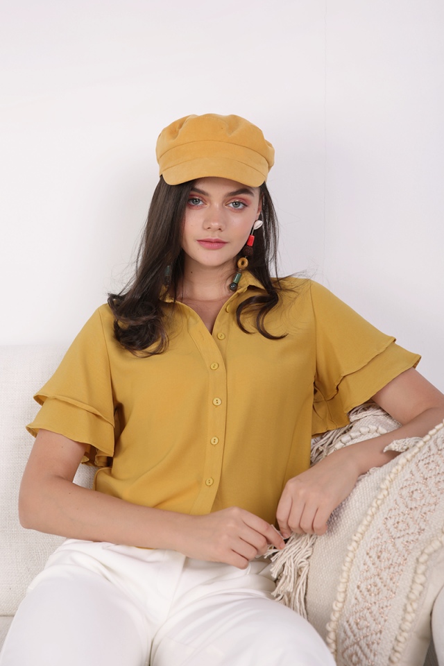 Ronda Button Top (Mustard)