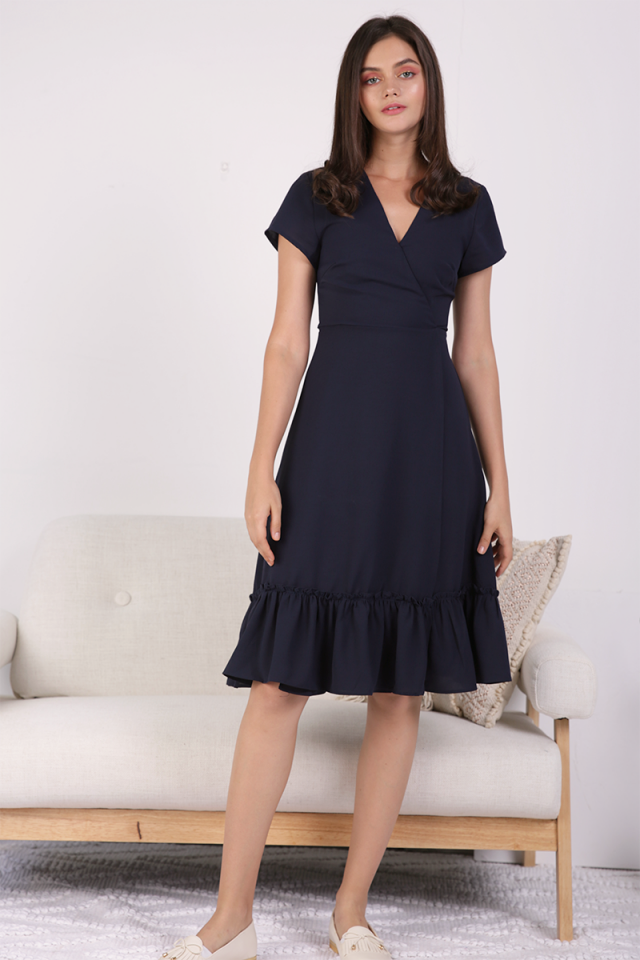 Laura Wrap Front Dress (Navy)
