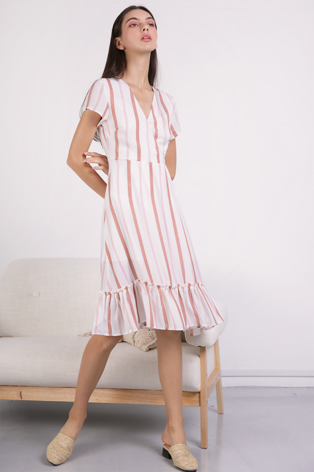 Laura Wrap Front Dress (Pink Stripes)