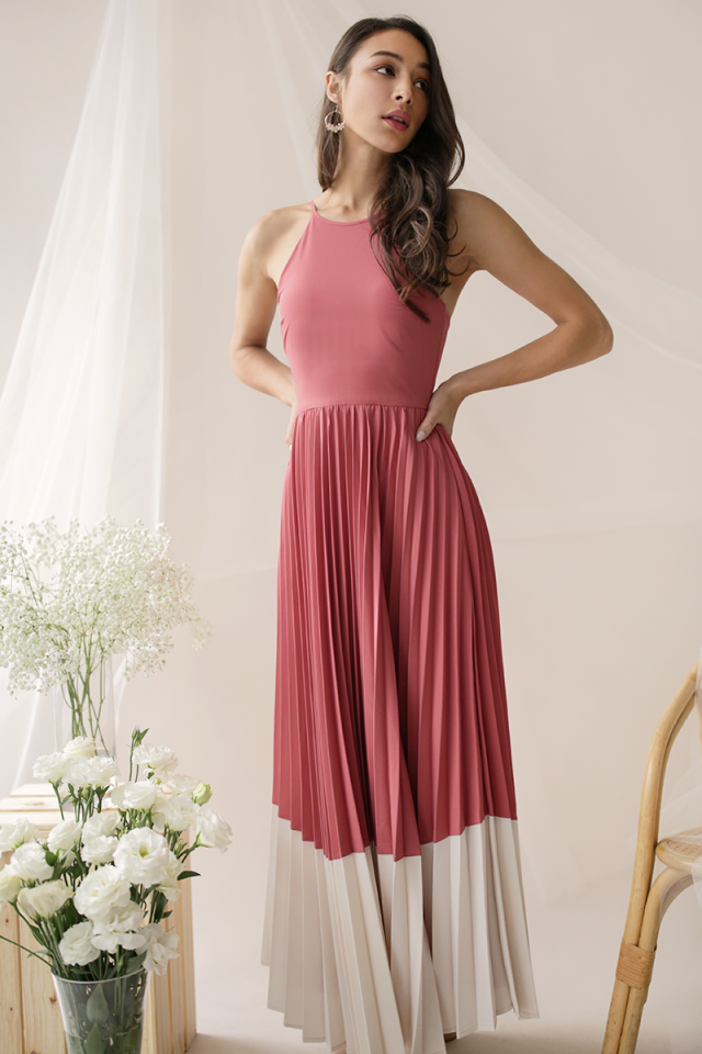 Abe Colourblock Maxi Dress (Rose/Cream)