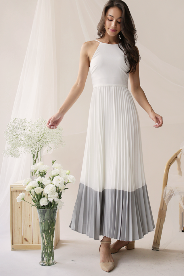 Abe Colourblock Maxi Dress (White/Grey)