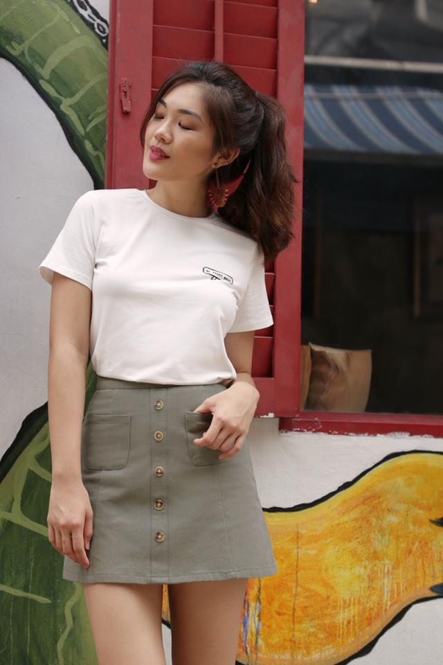 Gabby Denim Skirt (Olive)