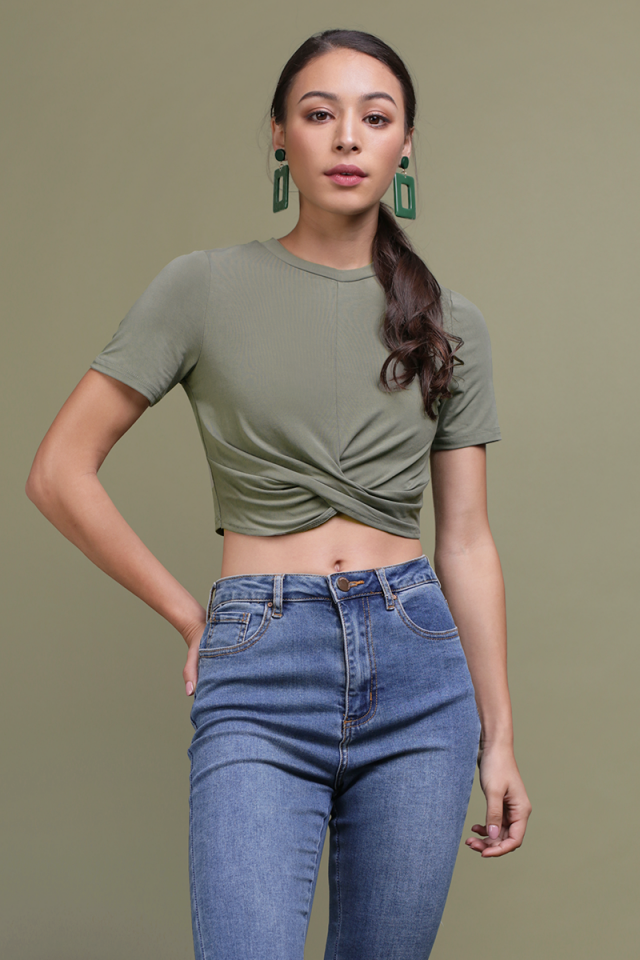 Ruth Wrapped Crop Top (Olive)