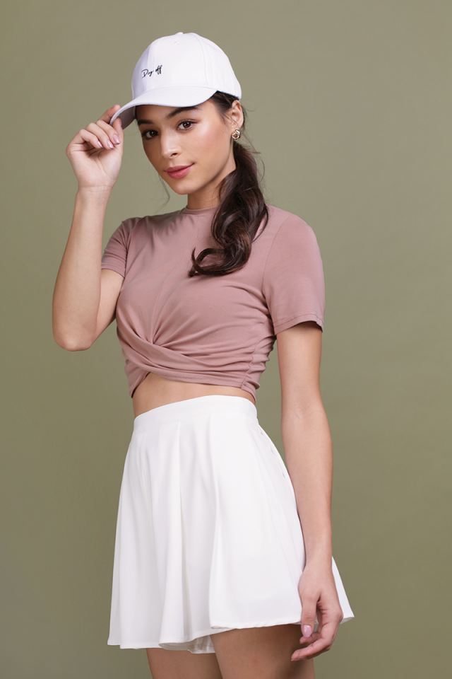 Ruth Wrapped Crop Top (Dusty Pink)