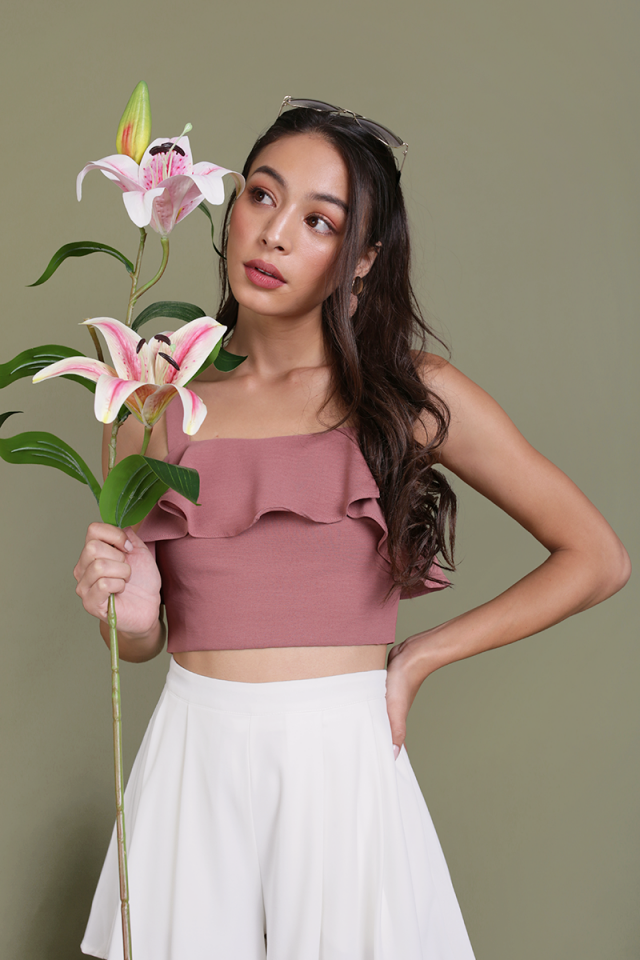 Reena Flutter Crop Top (Dusty Rose)