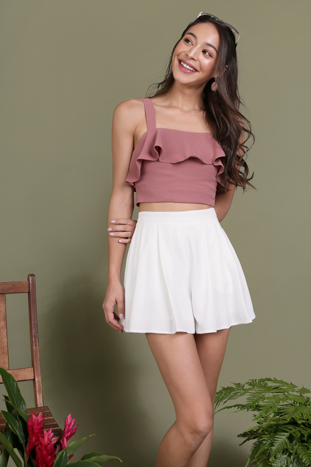 Nara Pleated Flare Shorts (White)