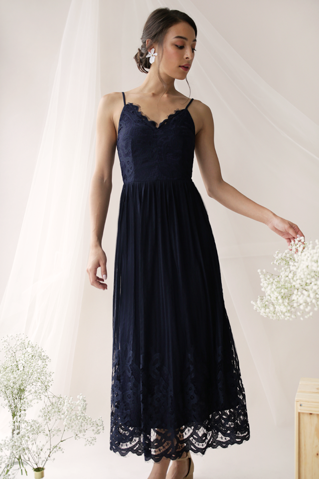 Halia Lace Maxi Dress (Navy)