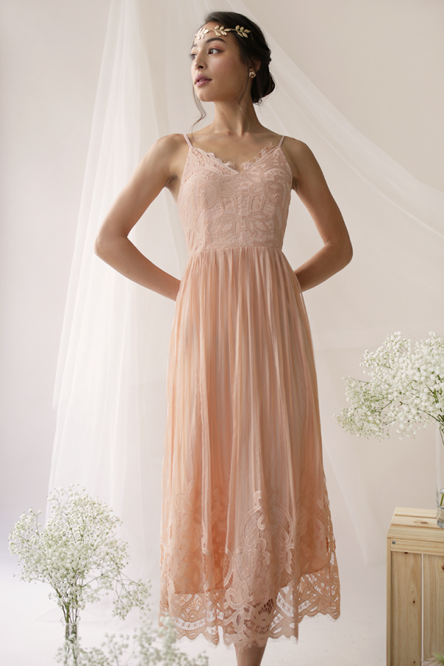 Halia Lace Maxi Dress (Peach)