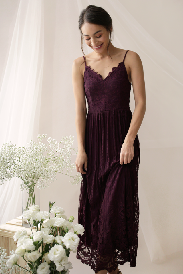 Halia Lace Maxi Dress (Plum)