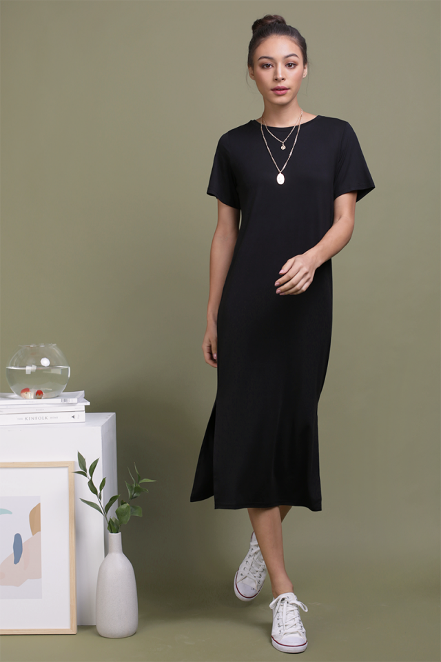 Alison Midi Tee Dress (Black)