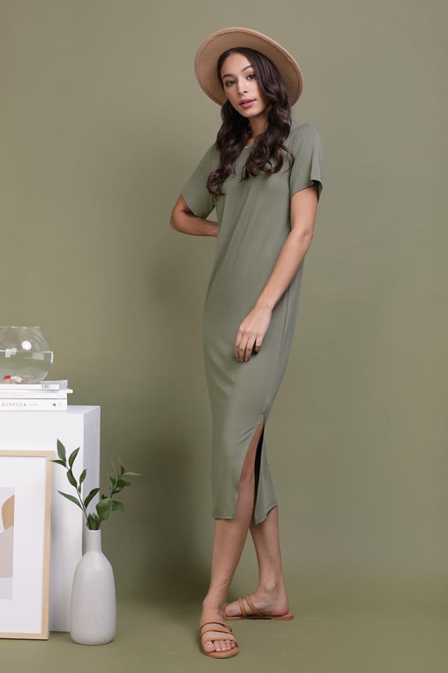 Alison Midi Tee Dress (Olive)
