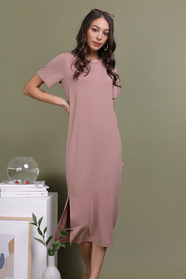 Alison Midi Tee Dress (Dusty Pink)