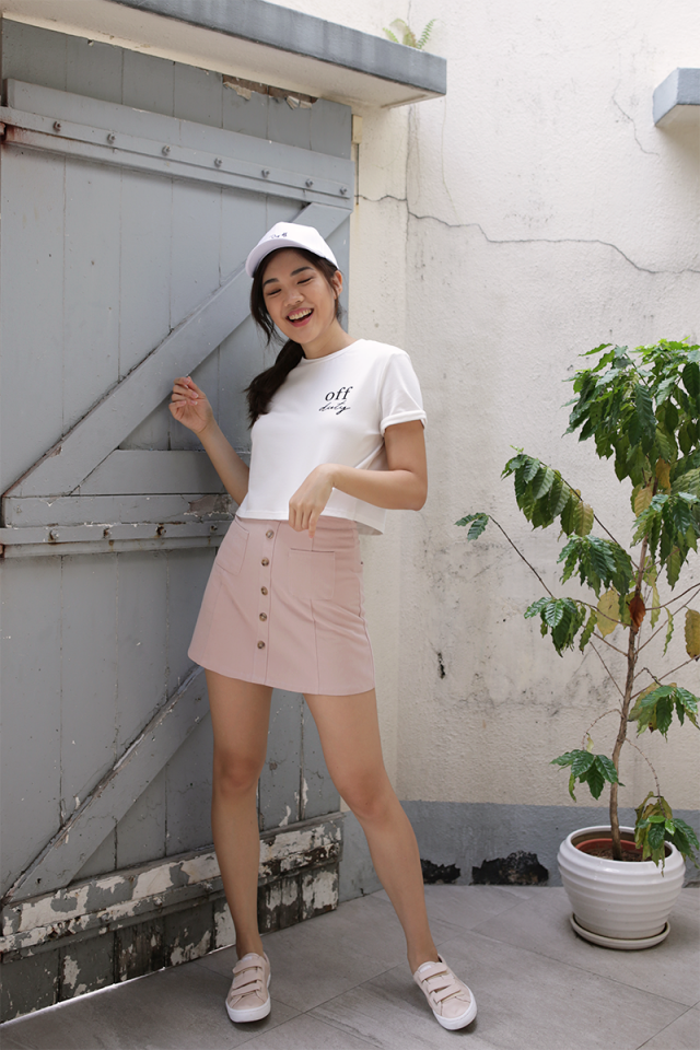 Gabby Denim Skirt (Blush Pink)