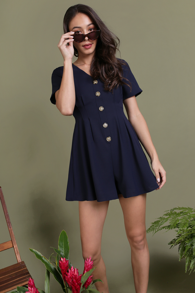 Maddie Button Romper (Navy)