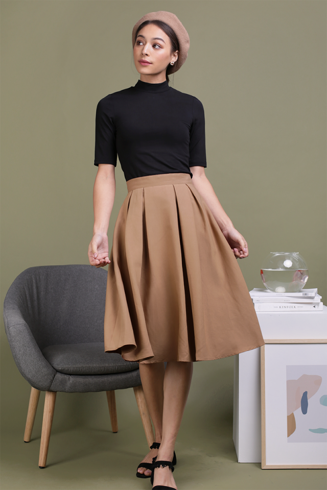 Get Lucky Midi Skirt (Camel)