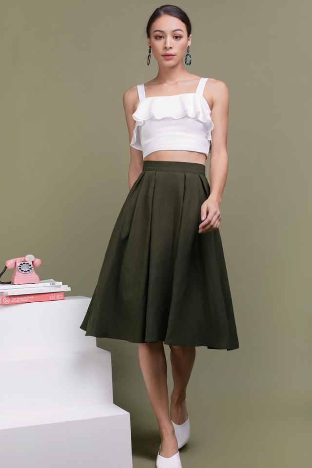 Get Lucky Midi Skirt (Forest)