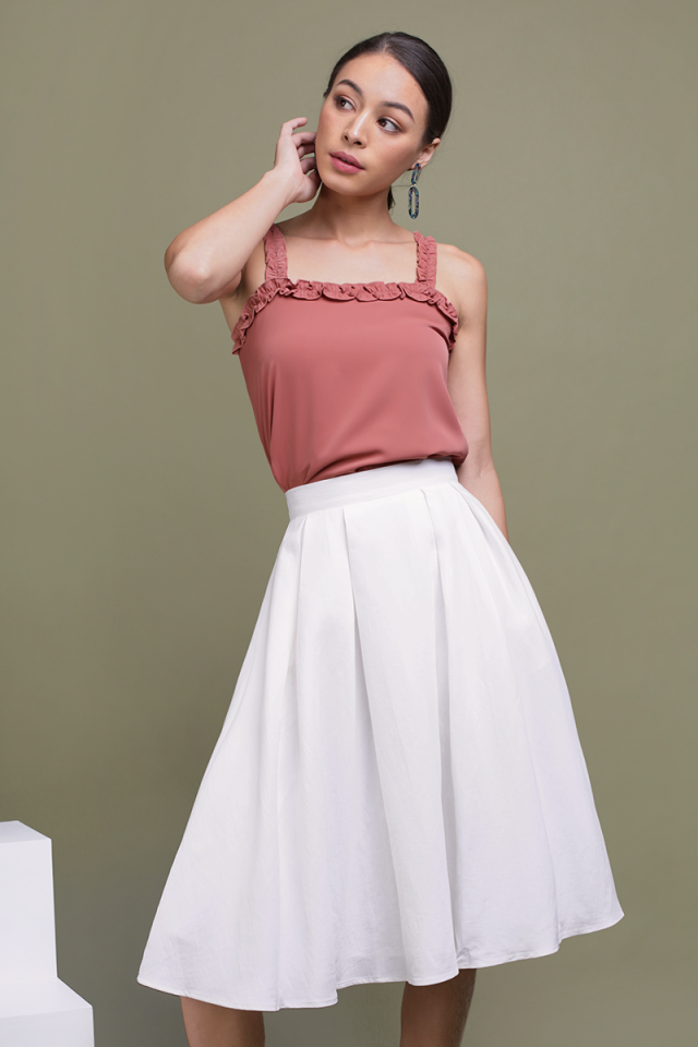 Get Lucky Midi Skirt (White)