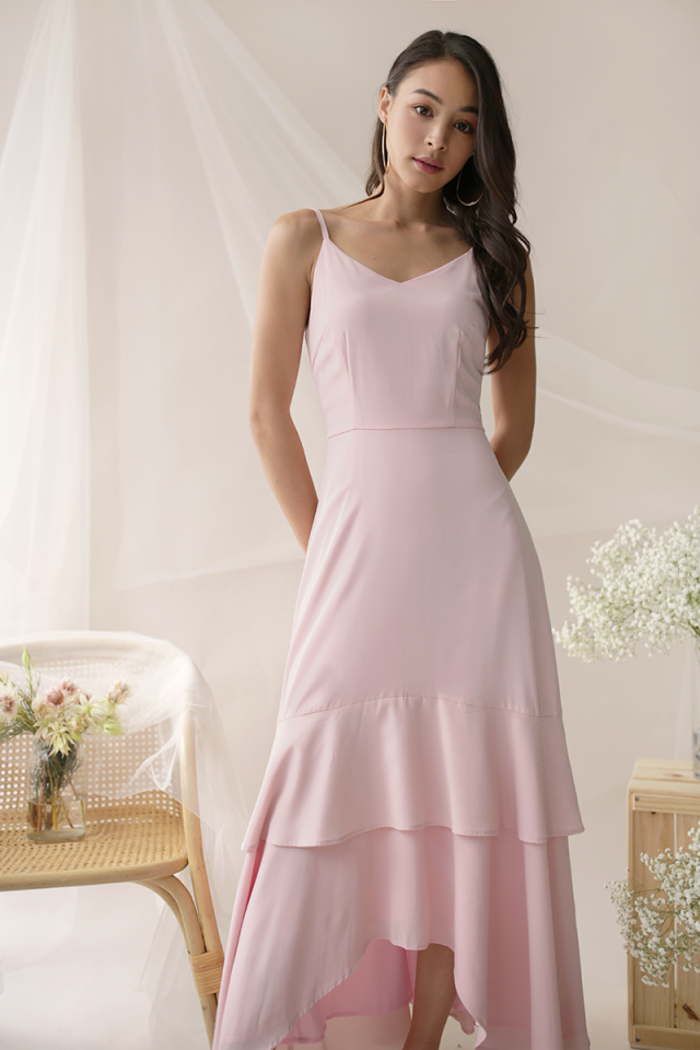 Florence Fishtail Maxi Dress (Pink)