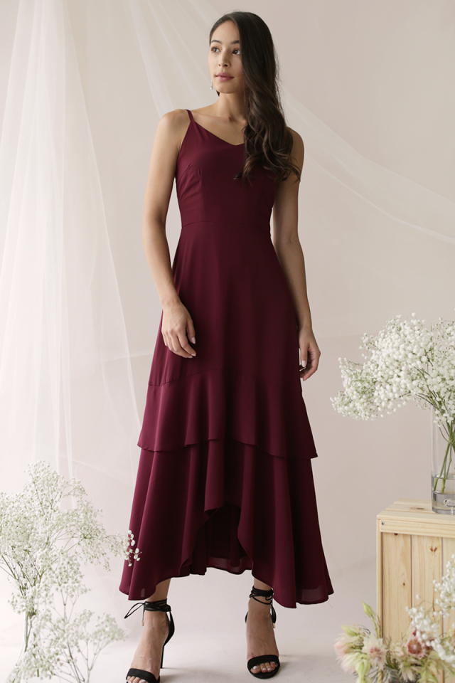 Florence Fishtail Maxi Dress (Wine Red)
