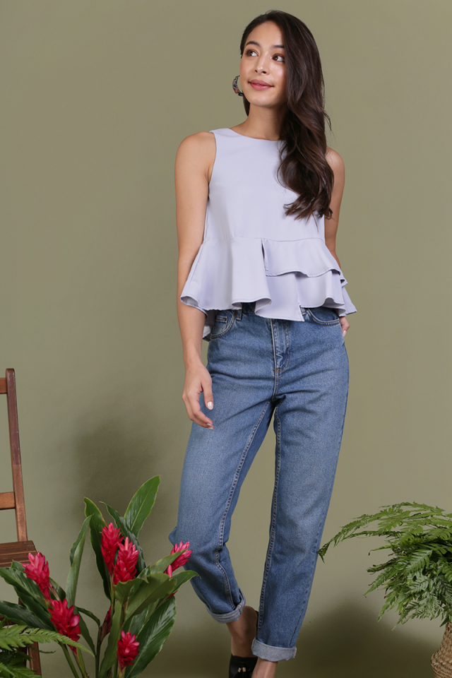 Cece Tiered Top (Lilac Grey)