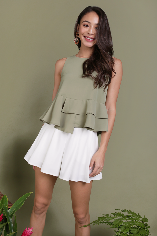 Cece Tiered Top (Sage Green)