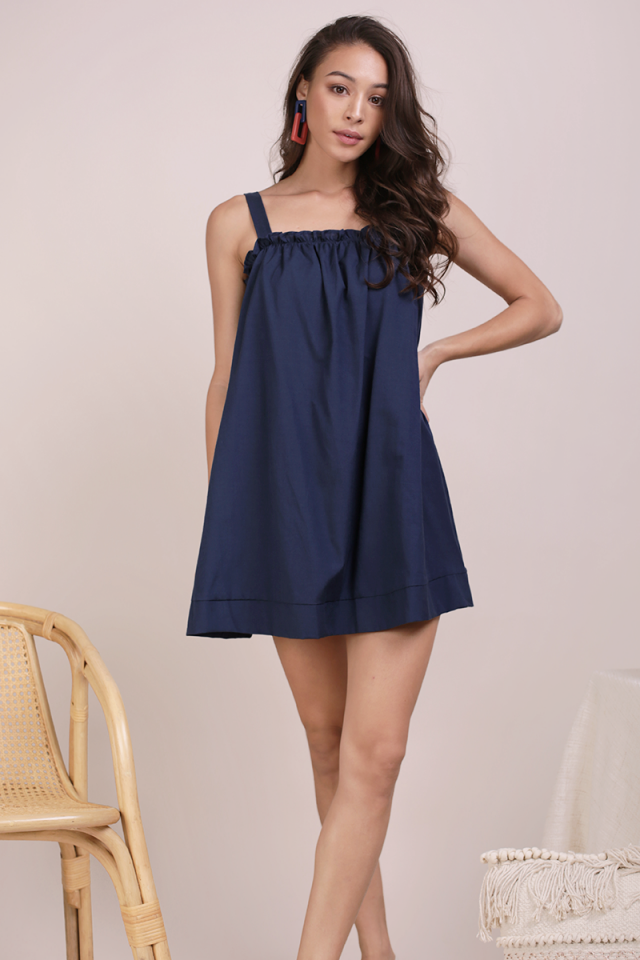 Skyla Ruffles Spag Dress (Navy)