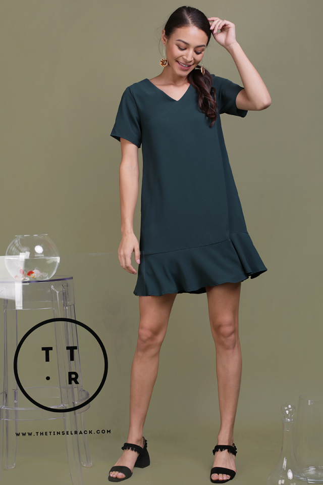Mia Drop Hem Dress (Forest Green)
