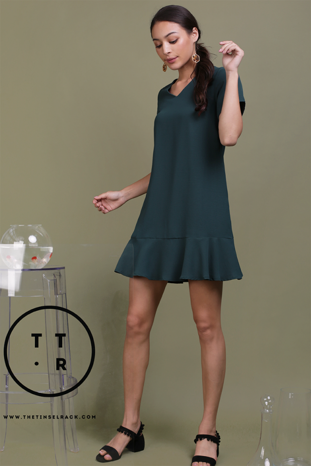 Mia Drop Hem Dress (Forest Green)