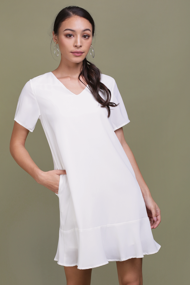 Mia Drop Hem Dress (White)