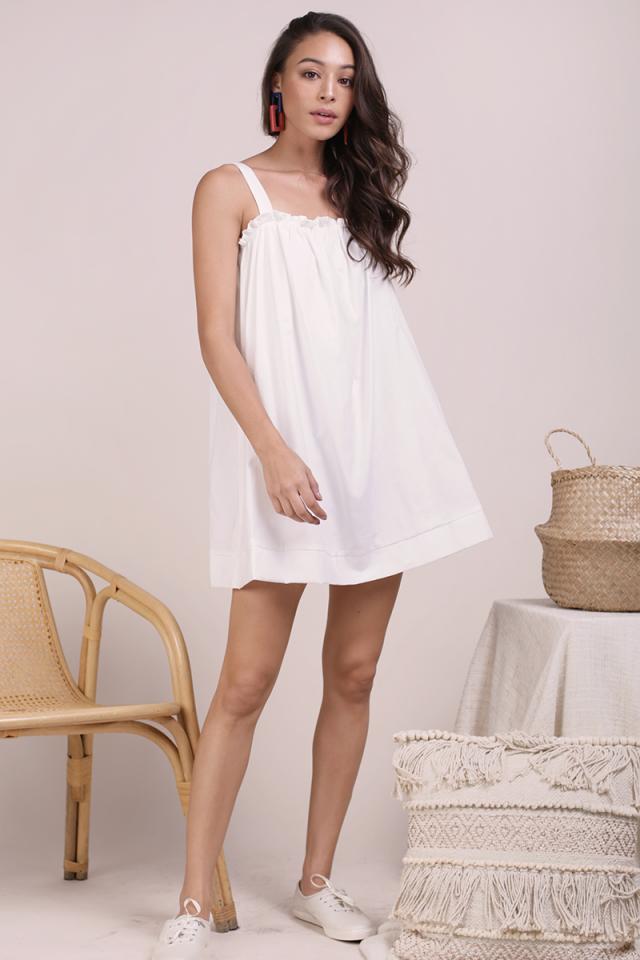 Skyla Ruffles Spag Dress (White)