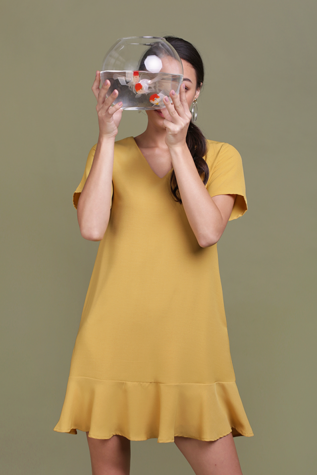 Mia Drop Hem Dress (Mustard)