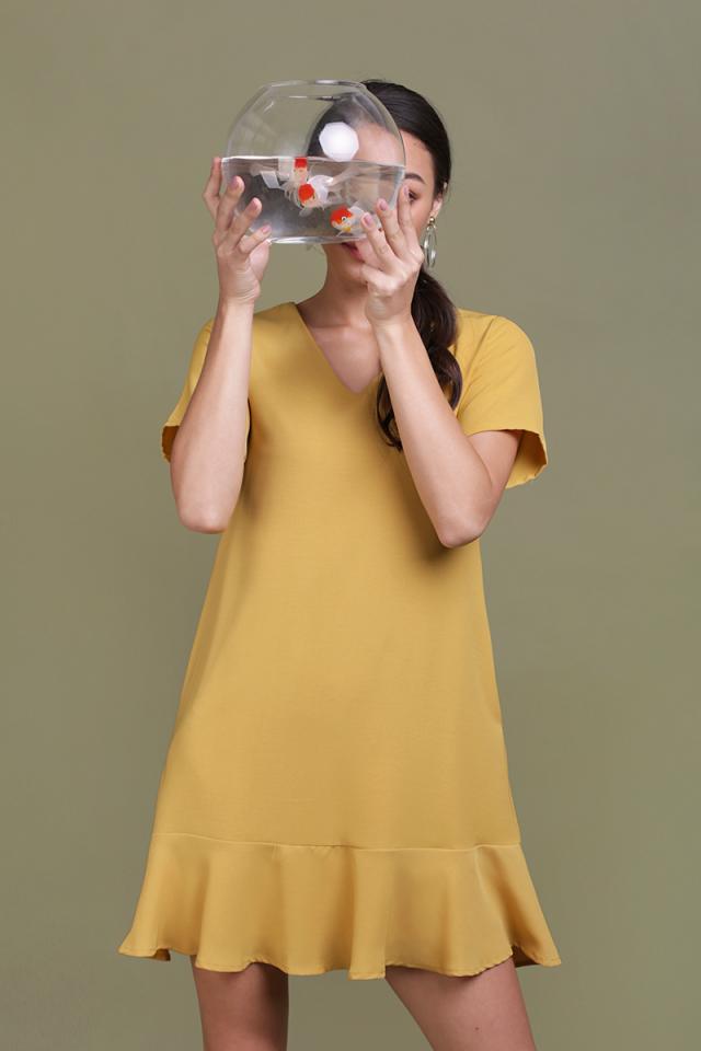 Mia Drop Hem Dress (Mustard)