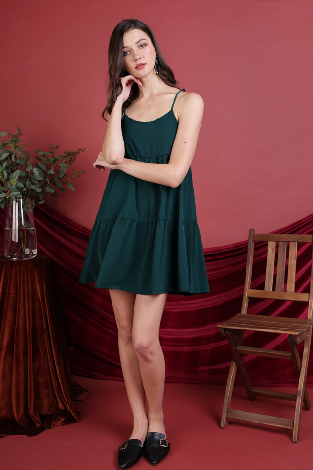 Emmy Tiered Spag Dress (Forest Green)