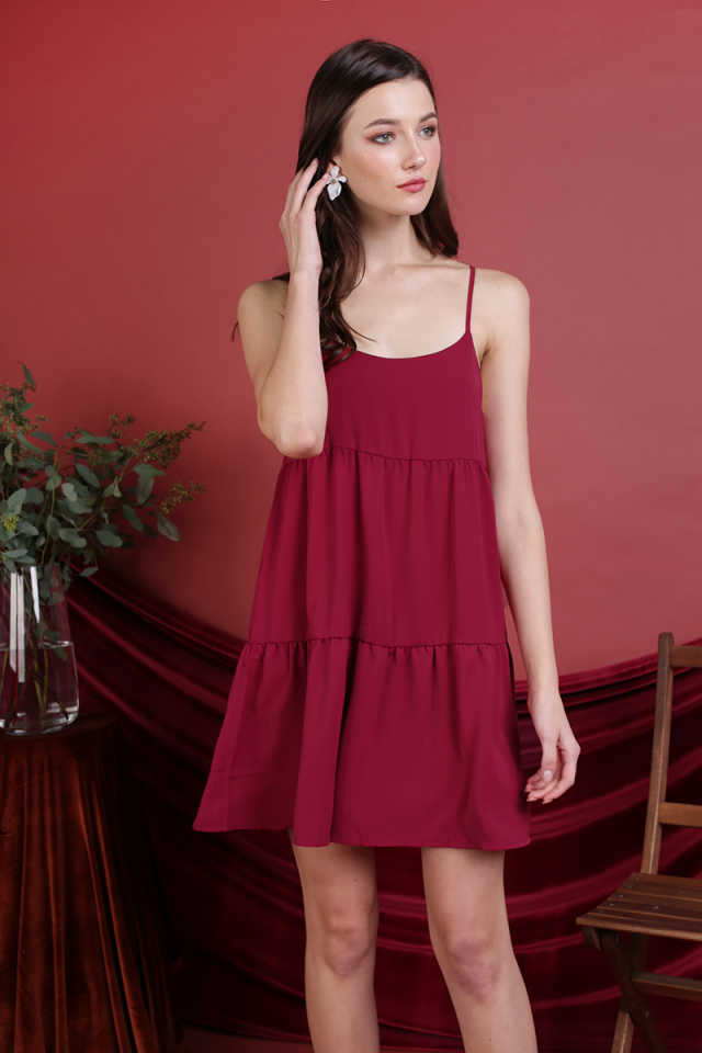 Emmy Tiered Spag Dress (Berry)