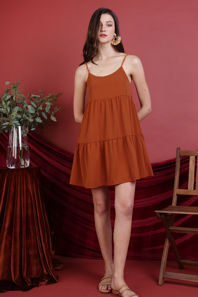 Emmy Tiered Spag Dress (Sienna)