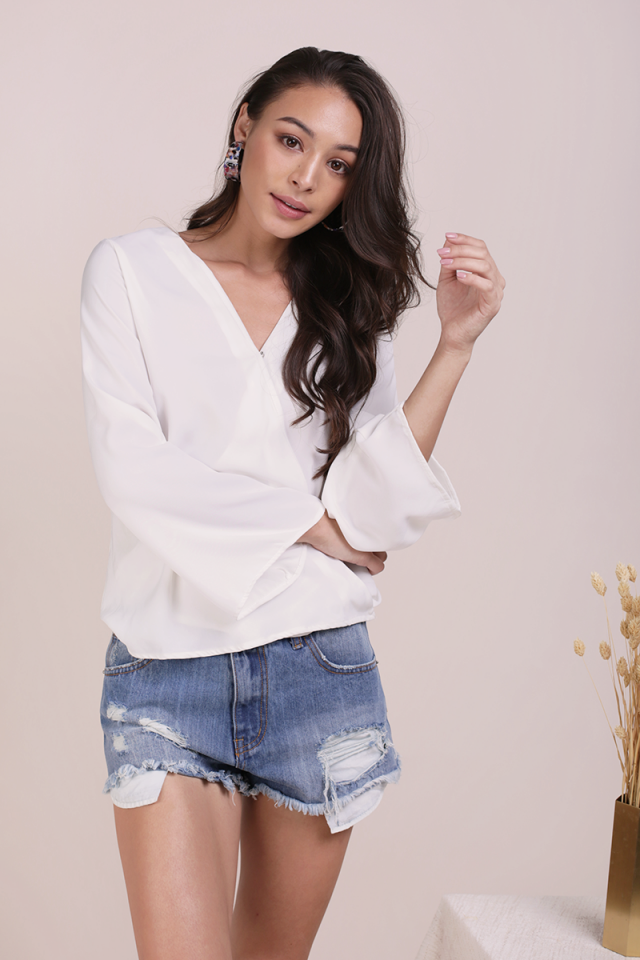 Val Sleeved Top (White)