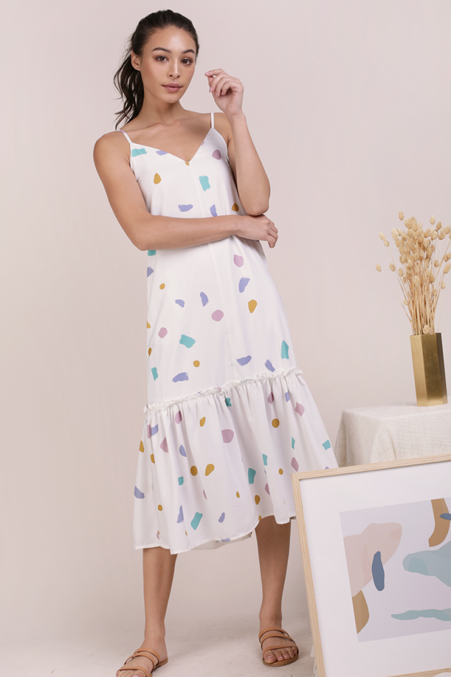 Holly Drop Hem Midi (White Confetti)
