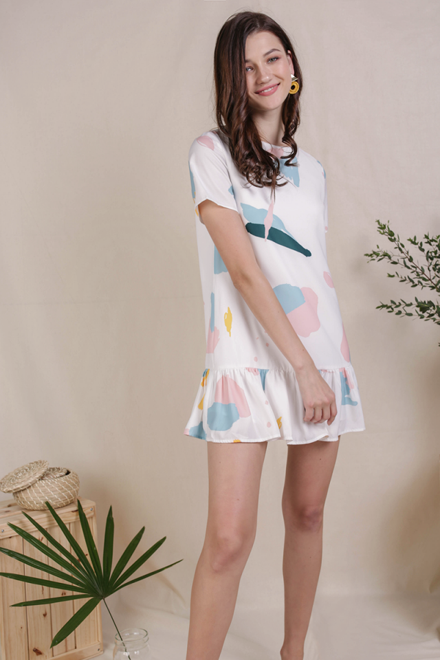 Kara Drop Hem Dress (Pastel Abstract)