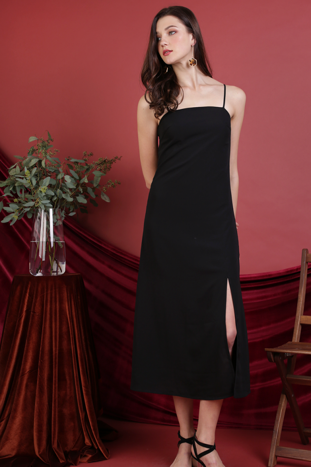 Abigail Slit Dress (Black)