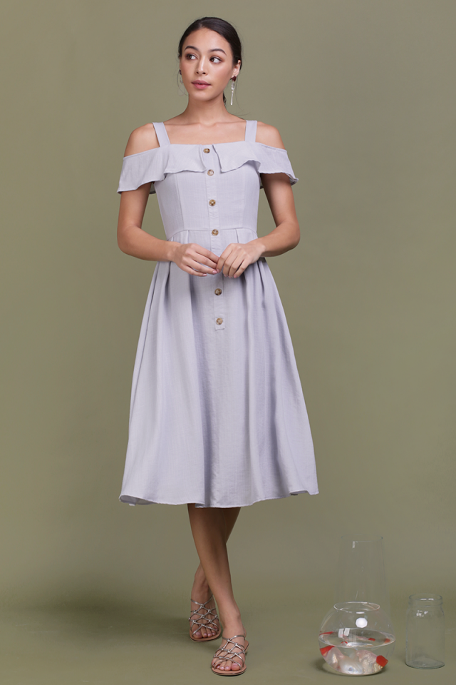 Megan Button Down Dress (Lilac Grey)