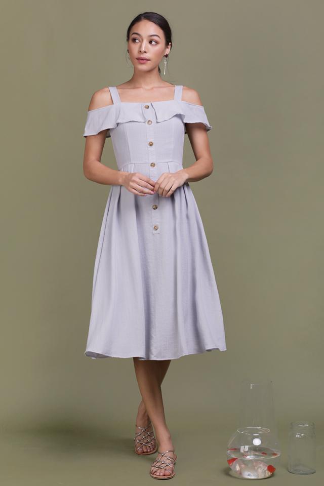 Megan Button Down Dress (Lilac Grey)