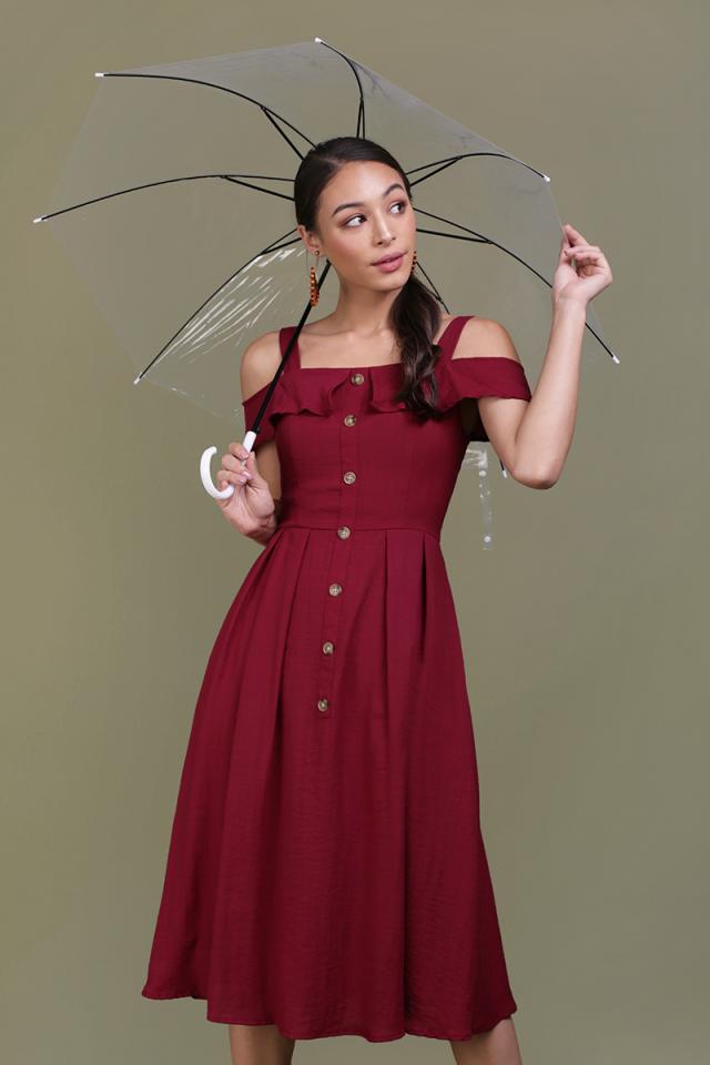 Megan Button Down Dress (Maroon)