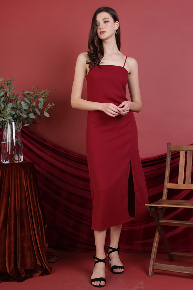 Abigail Slit Dress (Dark Red)